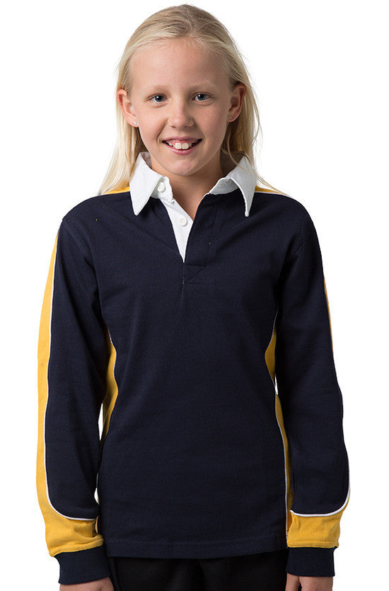 Be Seen-Be Seen Kids Knit Rugby Jersey-Navy-Gold-White / 6-Uniform Wholesalers - 9
