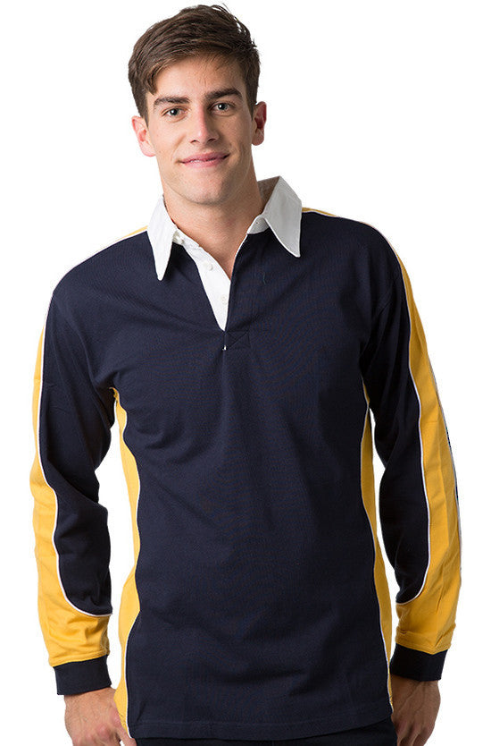 Be Seen-Be Seen Men's Knit Rugby Jersey 2nd( 7 Color )-Navy-Gold-White / XS-Uniform Wholesalers - 2