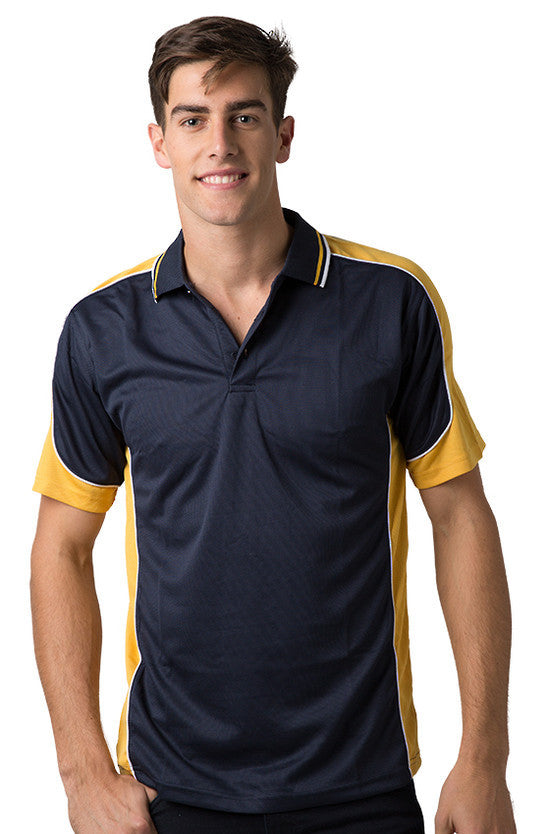 Be Seen-Be Seen Men's Polo Shirt With Striped Collar 4th( 11 Color All Navy )-Navy-Gold-White / XS-Uniform Wholesalers - 4