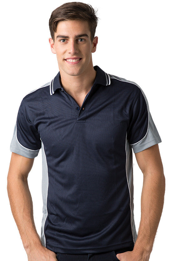 Be Seen-Be Seen Men's Polo Shirt With Striped Collar 4th( 11 Color All Navy )-Navy-Grey-White / XS-Uniform Wholesalers - 5