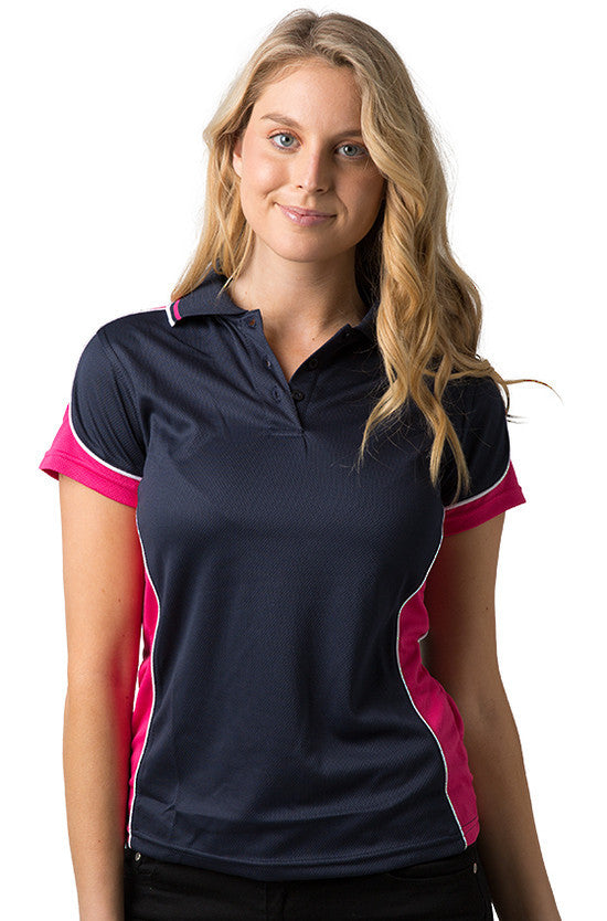 Be Seen-Be Seen Ladies Polo Shirt With Striped Collar 1st( 12 Color )-Navy-Hot Pink-White / 8-Uniform Wholesalers - 10