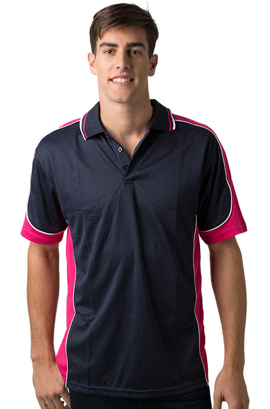 Be Seen-Be Seen Men's Polo Shirt With Striped Collar 4th( 11 Color All Navy )-Navy-Hot Pink-White / XS-Uniform Wholesalers - 6