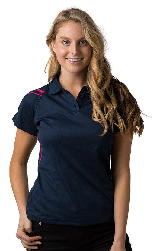 Be Seen-Be Seen Ladies Polo Shirt With Contrast Piping-Navy-Hot Pink / 8-Uniform Wholesalers - 3