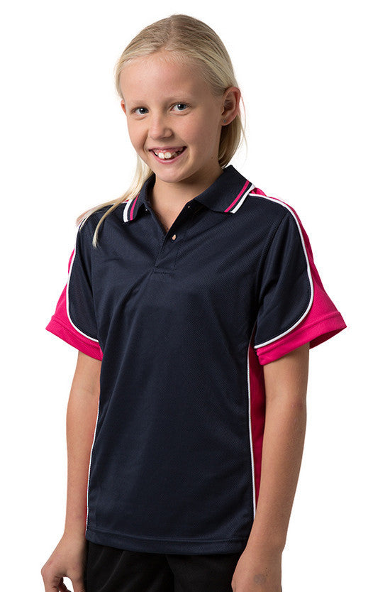 Be Seen-Be Seen Kids Polo Shirt With Striped Collar 3rd( 11 Navy Color )-Navy-Hotpink-White / 6-Uniform Wholesalers - 6