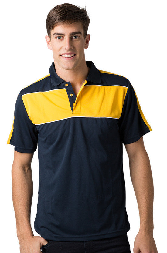 Be Seen-Be Seen Men's Polo With Contrast Shoulder-Navy-Light Gold-White / XS-Uniform Wholesalers - 6
