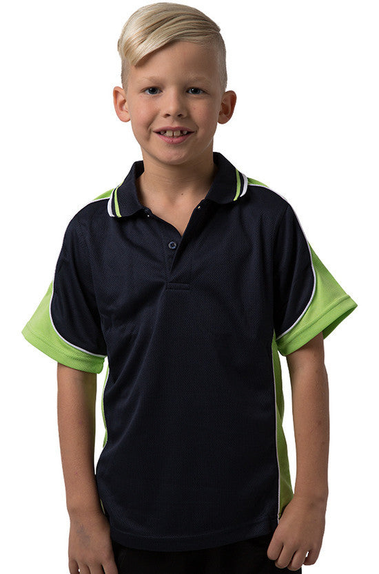 Be Seen-Be Seen Kids Polo Shirt With Striped Collar 3rd( 11 Navy Color )-Navy-Lime-White / 6-Uniform Wholesalers - 7