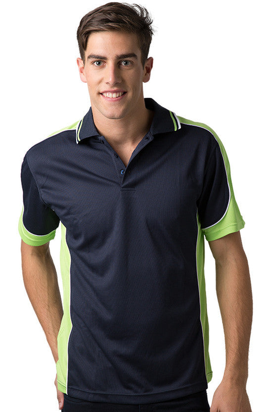 Be Seen-Be Seen Men's Polo Shirt With Striped Collar 4th( 11 Color All Navy )-Navy-Lime-White / XS-Uniform Wholesalers - 7