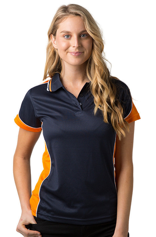Be Seen-Be Seen Ladies Polo Shirt With Striped Collar 1st( 12 Color )-Navy-Orange-White / 8-Uniform Wholesalers - 11