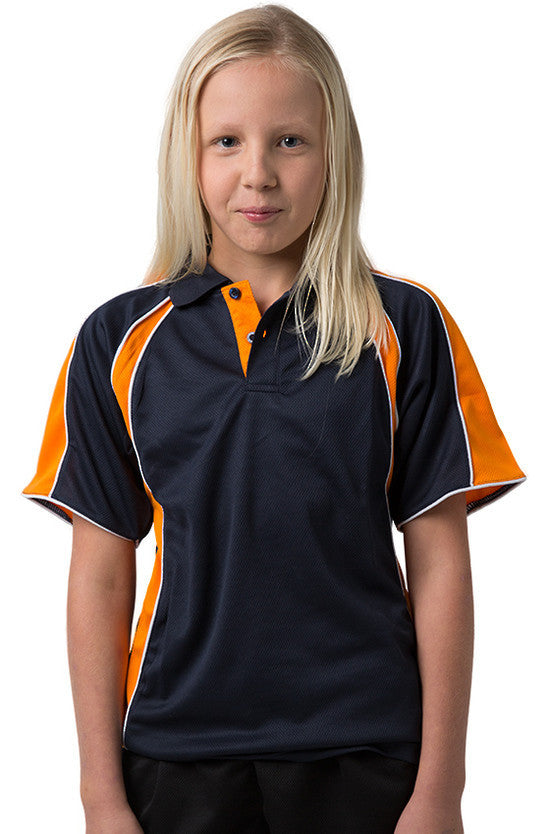 Be Seen-Be Seen Kids Polo Shirt With Contrast Sleeve Edge Piping-Navy-Orange-White / 6-Uniform Wholesalers - 11