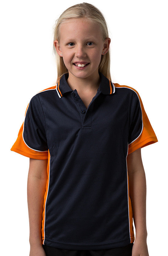 Be Seen-Be Seen Kids Polo Shirt With Striped Collar 3rd( 11 Navy Color )-Navy-Orange-White / 6-Uniform Wholesalers - 8