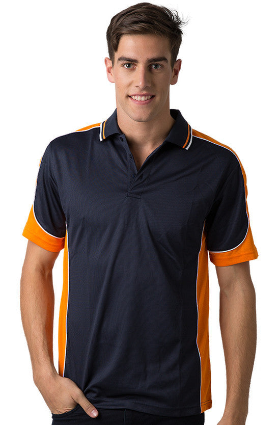 Be Seen-Be Seen Men's Polo Shirt With Striped Collar 4th( 11 Color All Navy )-Navy-Orange-White / XS-Uniform Wholesalers - 8