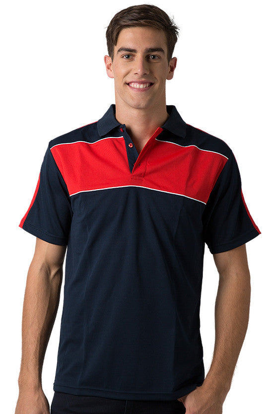 Be Seen-Be Seen Men's Polo With Contrast Shoulder-Navy-Red-White / XS-Uniform Wholesalers - 7