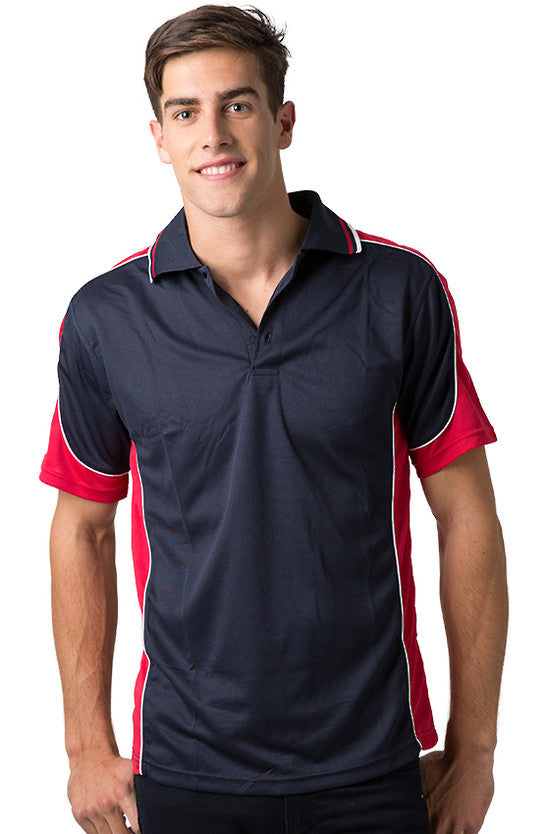 Be Seen-Be Seen Men's Polo Shirt With Striped Collar 4th( 11 Color All Navy )-Navy-Red-White / XS-Uniform Wholesalers - 9