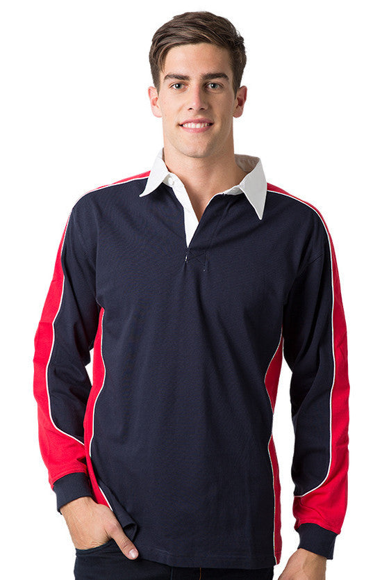 Be Seen-Be Seen Men's Knit Rugby Jersey 2nd( 7 Color )-Navy-Red-White / XS-Uniform Wholesalers - 3