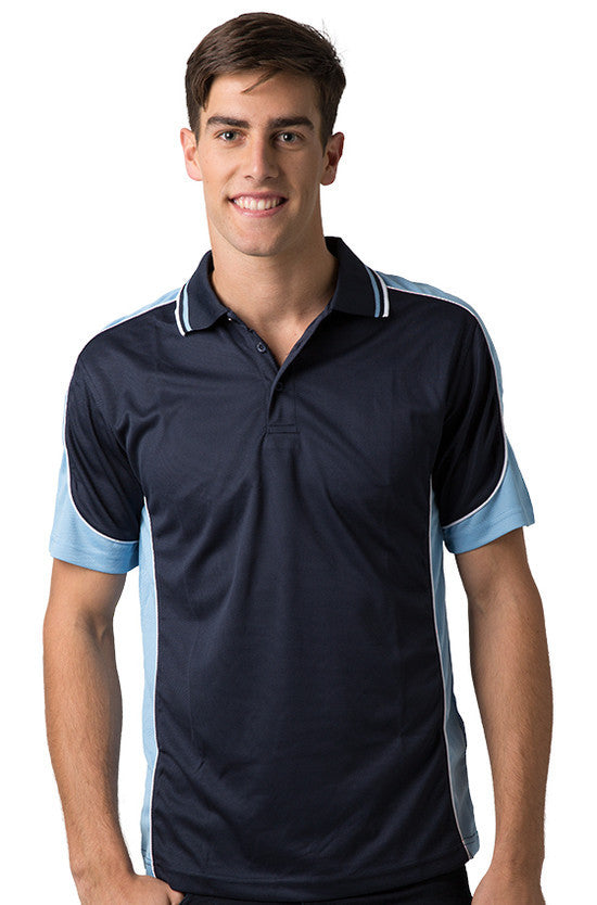 Be Seen-Be Seen Men's Polo Shirt With Striped Collar 4th( 11 Color All Navy )-Navy-Sky-White / XS-Uniform Wholesalers - 10