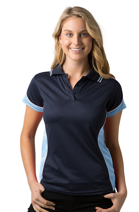 Be Seen-Be Seen Ladies Polo Shirt With Striped Collar 1st( 12 Color )-Navy-Sky-White / 8-Uniform Wholesalers - 12