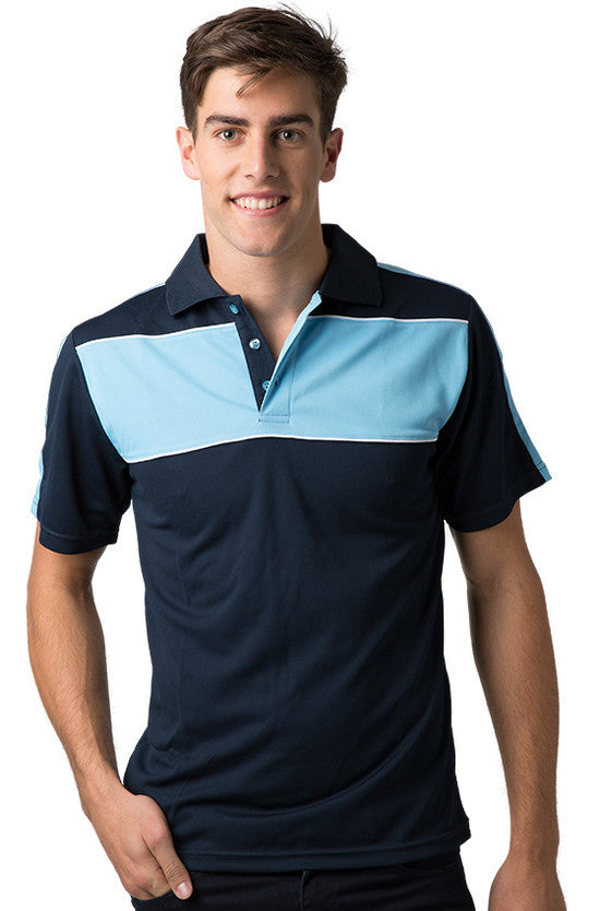 Be Seen-Be Seen Men's Polo With Contrast Shoulder-Navy-Sky-White / XS-Uniform Wholesalers - 8