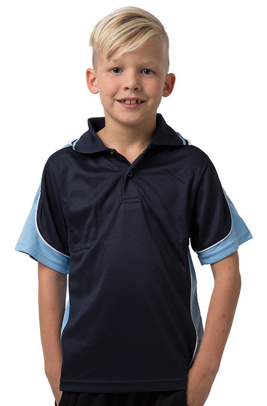 Be Seen-Be Seen Kids Polo Shirt With Striped Collar 3rd( 11 Navy Color )-Navy-Sky-White / 6-Uniform Wholesalers - 10
