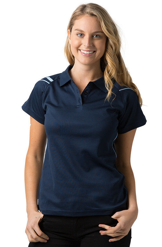 Be Seen-Be Seen Ladies Polo Shirt With Contrast Piping-Navy-Sky / 8-Uniform Wholesalers - 4