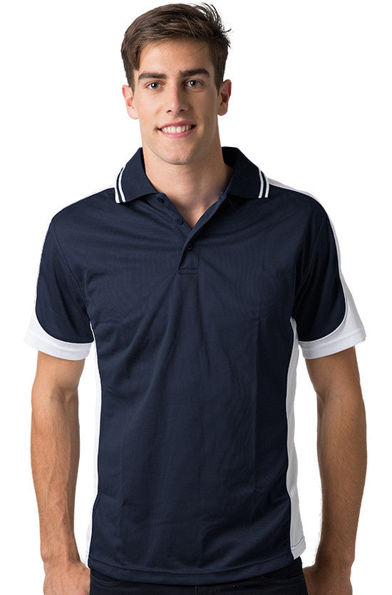Be Seen-Be Seen Men's Polo Shirt With Striped Collar 4th( 11 Color All Navy )-Navy-White-White / XS-Uniform Wholesalers - 11