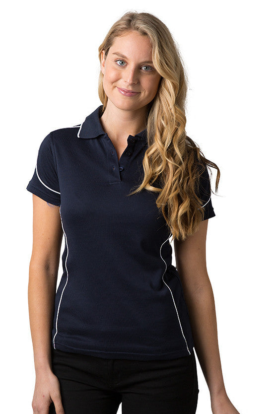 Be Seen-Be Seen Ladies Polo Shirt With Contrast Piping-Navy-White / 8-Uniform Wholesalers - 7