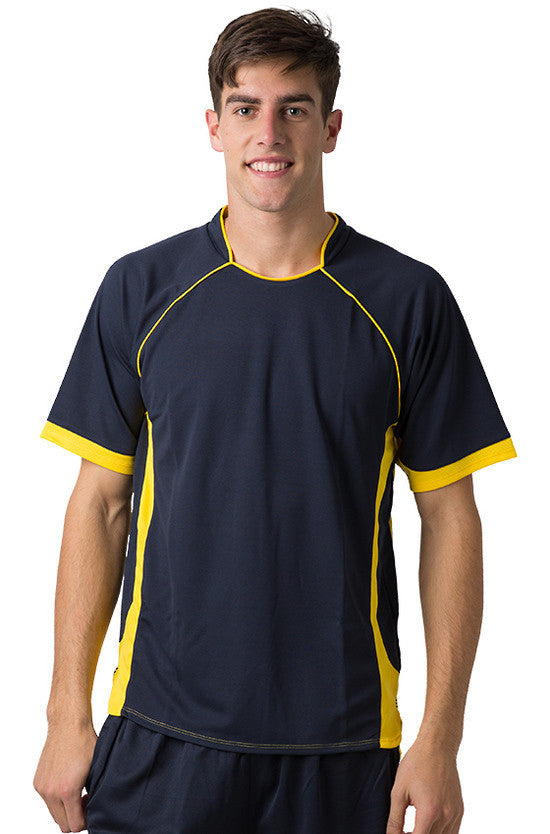 Be Seen-Be Seen Men's Polo Shirt With Pique Knit Body And Contrast 2nd( 7 Color )-Navy-Yellow / XS-Uniform Wholesalers - 2