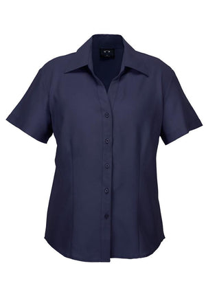 Biz Collection-Biz Collection Ladies Plain Oasis Shirt-S/S-Navy / 6-Uniform Wholesalers - 1