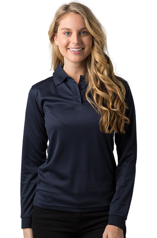 Be Seen-Be Seen Ladies Long Sleeve Plain Polo Shirt With Ribbed Cuffs-Navy / 8-Uniform Wholesalers - 4