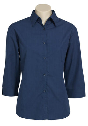 Biz Collection-Biz Collection Ladies Micro Check 3/4 Sleeve Shirt-Navy / 8-Uniform Wholesalers - 3