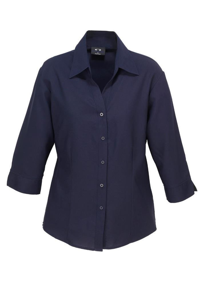 Biz Collection-Biz Collection Ladies Plain Oasis Shirt-3/4 Sleeve-Navy / 6-Uniform Wholesalers - 8