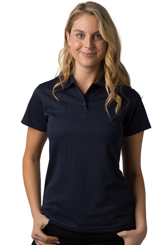 Be Seen-Be Seen Ladies Plain Polo Shirt With Herringbone Tape At Neck-Navy / 8-Uniform Wholesalers - 7