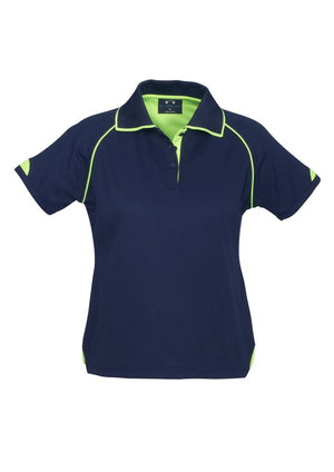 Biz Collection-Biz Collection Ladies Fusion Polo-Navy / Fluro Lime / 8-Uniform Wholesalers - 4