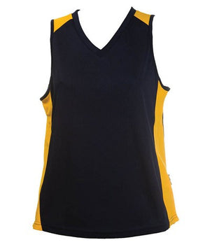 Australian Spirit-Aus Spirt Olympikool Ladies Singlet 2nd ( 9 Colour )-Navy/Gold / 8-Uniform Wholesalers - 3