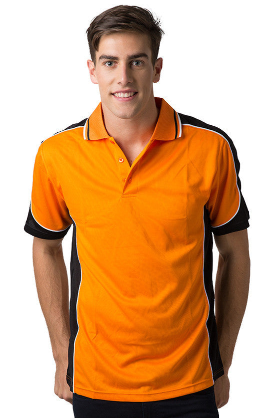 Be Seen-Be Seen Men's Polo Shirt With Striped Collar 5th( 6 Color )-Orange-Black-White / XS-Uniform Wholesalers - 1