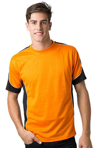 Be Seen-Be Seen Men's Short Sleeve T-shirt With Contrast 2nd( 7 Color )-Orange-Black-White / XS-Uniform Wholesalers - 1
