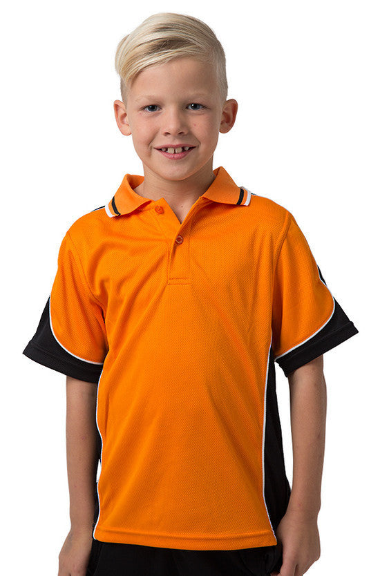 Be Seen-Be Seen Kids Polo Shirt With Striped Collar 4th(14 Color )-Orange-Black-White / 6-Uniform Wholesalers - 1