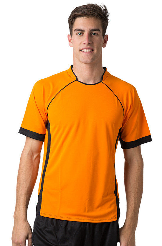 Be Seen-Be Seen Men's Polo Shirt With Pique Knit Body And Contrast 2nd( 7 Color )-Orange-Black / XS-Uniform Wholesalers - 3