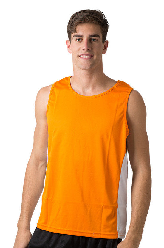Be Seen-Be Seen Men's Singlet With Contrast Side Panels With Contrast Piping 1st( 7 Color )-Orange-White-White / L-Uniform Wholesalers - 10