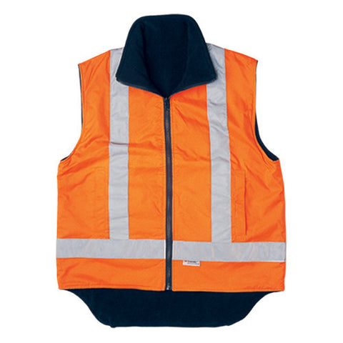 Bocini-Bocini Hi-Vis Reversible Vest With Reflective Tape-Fluro Orange / S-Uniform Wholesalers - 1