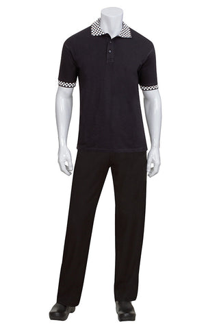 Chef Works-Chef Works Black Polo with Checked Cuff and Collar-XS / Black-Uniform Wholesalers - 1