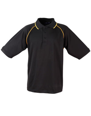Winning Spirit-Winning Spirit Men's CoolDry® Raglan Short Sleeve Contrast Polo 1st(12 Colour)-Black/Gold / S-Uniform Wholesalers - 2