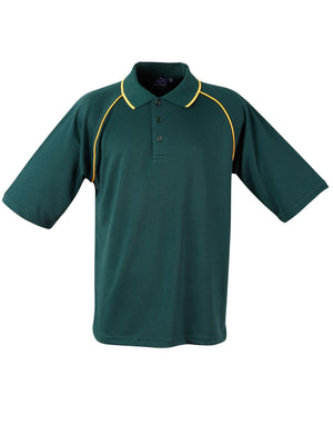 Winning Spirit-Winning Spirit Men's CoolDry® Raglan Short Sleeve Contrast Polo 1st(12 Colour)-Bottle/Gold / S-Uniform Wholesalers - 6