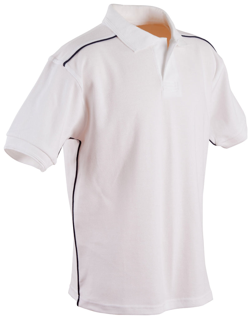 Winning Spirit-Winning Spirit Men's Pure Cotton Contrast Piping Short Sleeve Polo-White/Navy / S-Uniform Wholesalers - 4