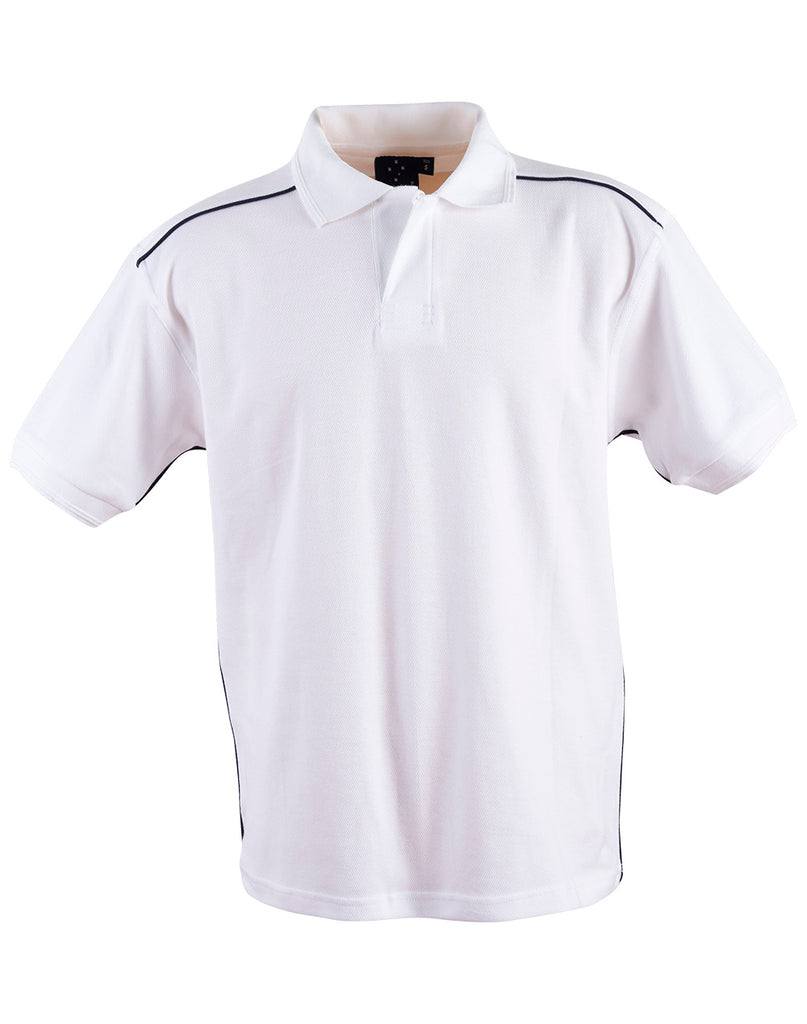 Winning Spirit Men's Pure Cotton Contrast Piping Short Sleeve Polo-(PS25)