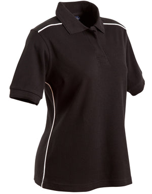 Winning Spirit Ladies' Pure Cotton Contrast Piping Short Sleeve Polo-(PS26)