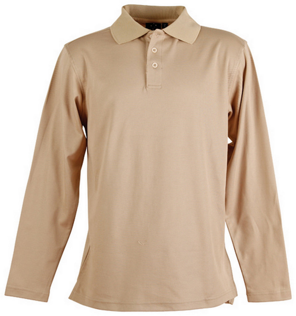 Winning Spirit-Winning Spirit TrueDry® Long Sleeve Polo-Beige / 2XL-Uniform Wholesalers - 2