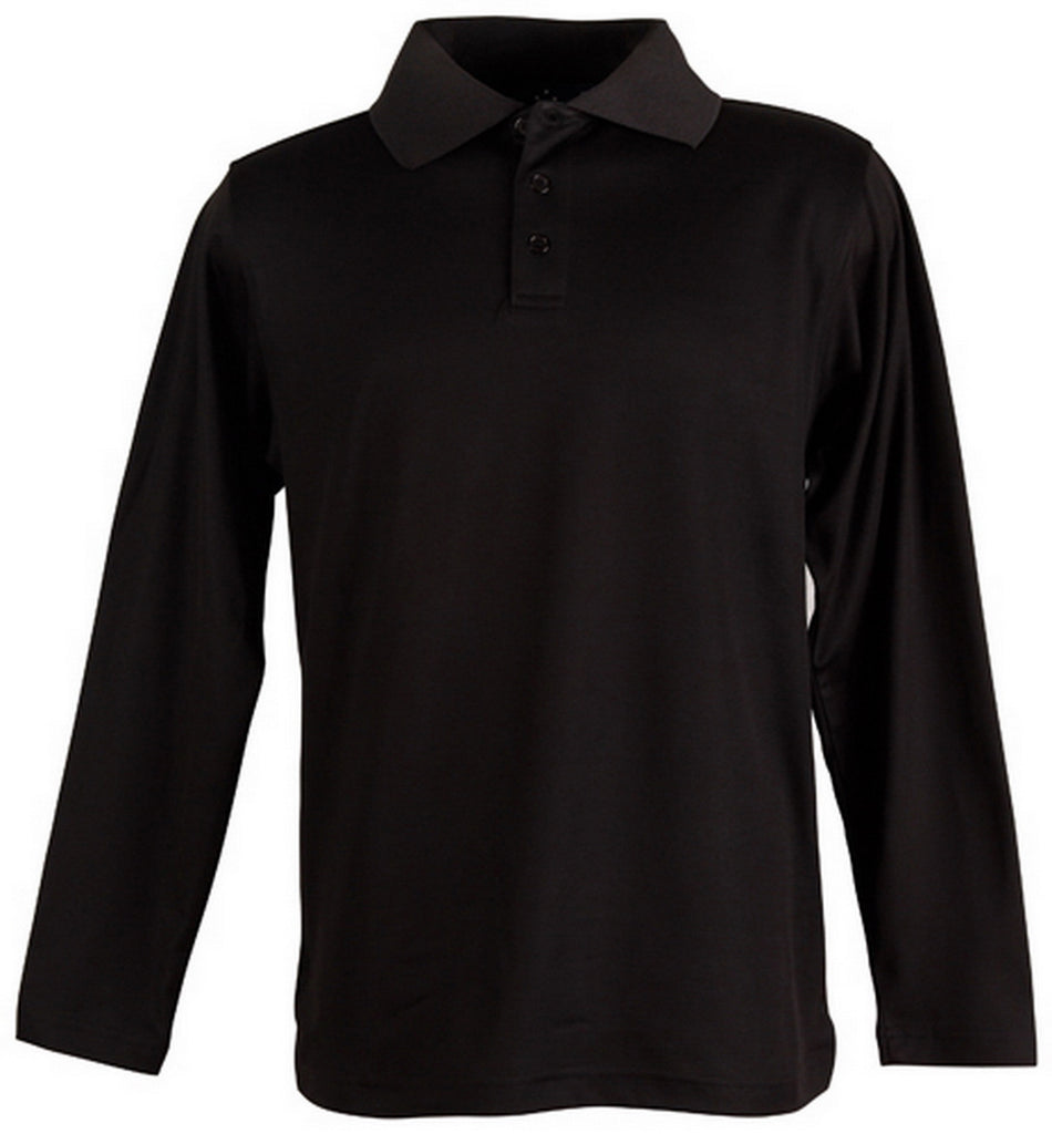 Winning Spirit-Winning Spirit TrueDry® Long Sleeve Polo-Black / S-Uniform Wholesalers - 3