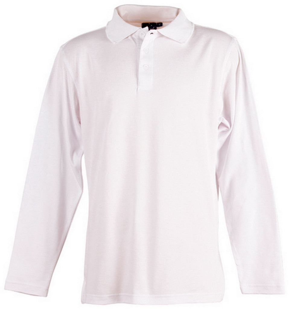 Winning Spirit-Winning Spirit TrueDry® Long Sleeve Polo-White / S-Uniform Wholesalers - 6