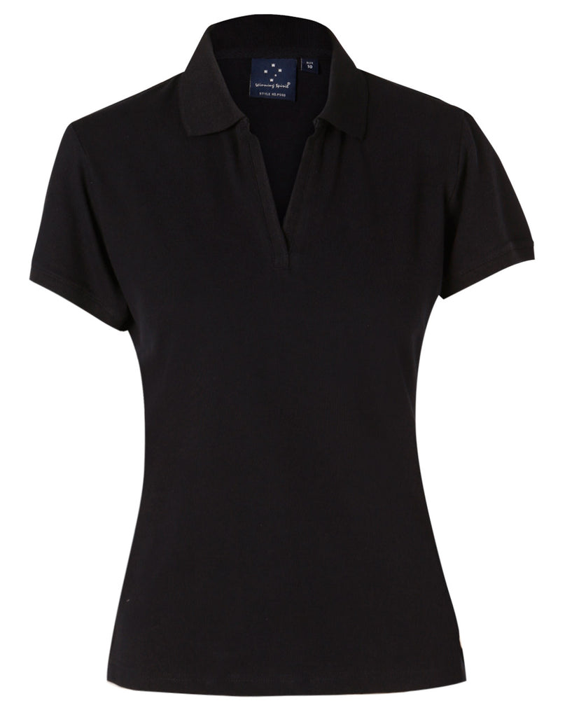 Winning Spirit Ladies' Short Sleeve Cotton/Elastane Polo 1st (8 colour)-(PS40)