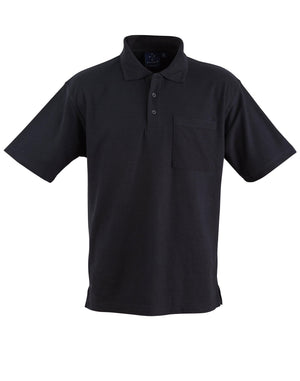 Winning Spirit-Winning Spirit Pique Knit Short Sleeve Polo (Unisex)-Black / XS-Uniform Wholesalers - 2